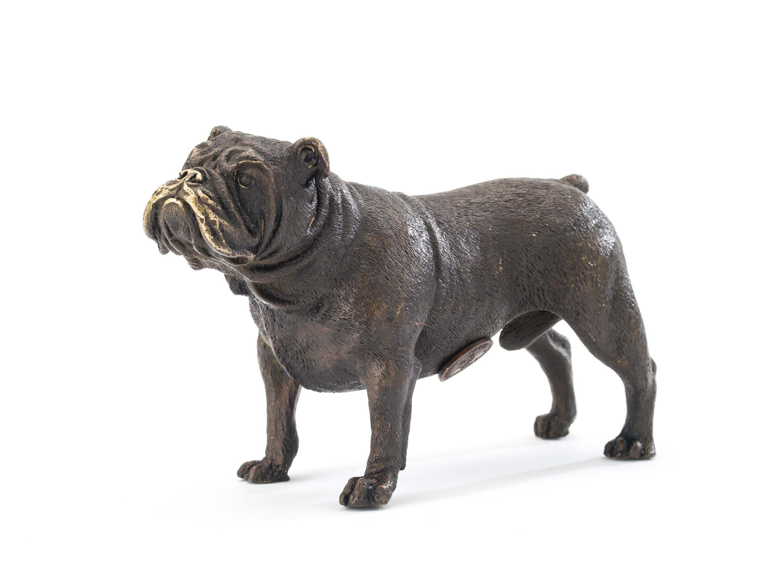 Bronzefigur Bulldogge Hund Dogge Skulptur Bronze Bronzeskulptur antik Stil
