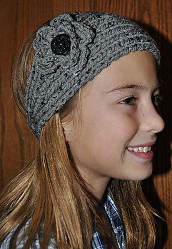 Tapered Knit Headbandear Warmer With Crochet Flower Tricot