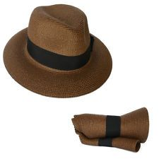 b8ba7c39af06d2 Men Straw Fedora Trilby Travel Packable Sun Hat Folding | Beach ...