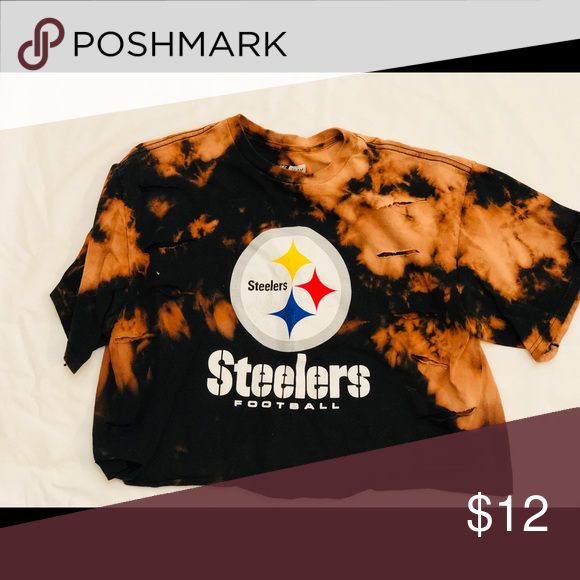aabc26c1581a2 Black destroyed Steelers crop top Black destroyed Steelers crop top 100%  cotton Large   item is meant to be worn loose Tops Crop Tops