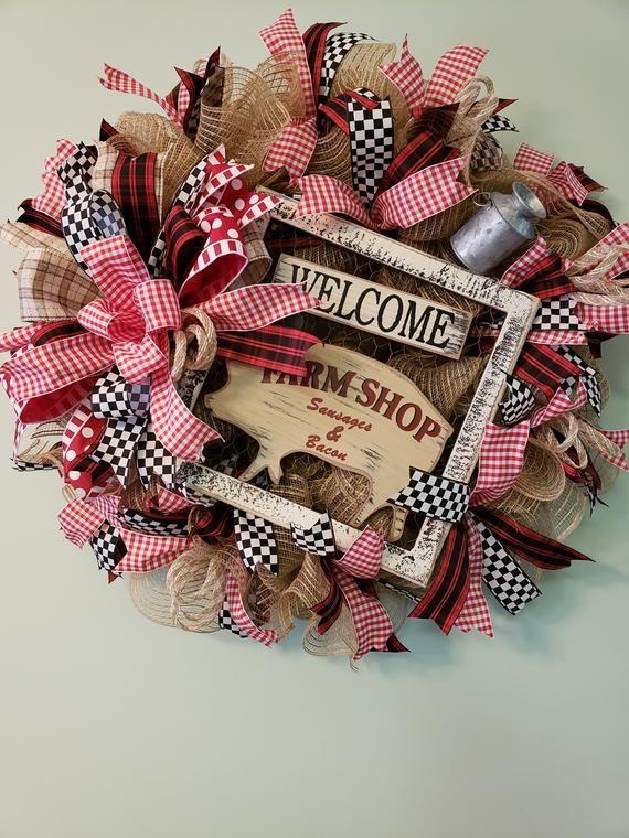 Farmhouse wreath/rustic wreath/country door hanger/farmhouse wall hanger/farmhouse deco mesh wreath/farmhouse pig decor #decomeshwreaths