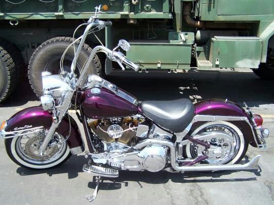 harley davidson with fishtail pipes and