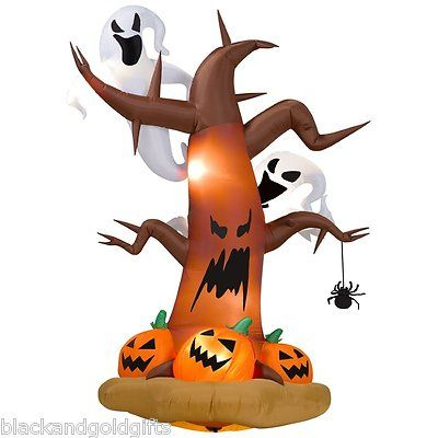GEMMY Halloween Airblown Inflatable Tree Ghosts Pumpkins Halloween - halloween inflatable decorations
