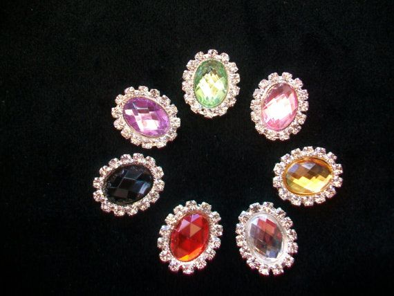 Assorted Silver Metal Oval Faceted Rhinestone by TheEiffelTeaRoom, $5.99