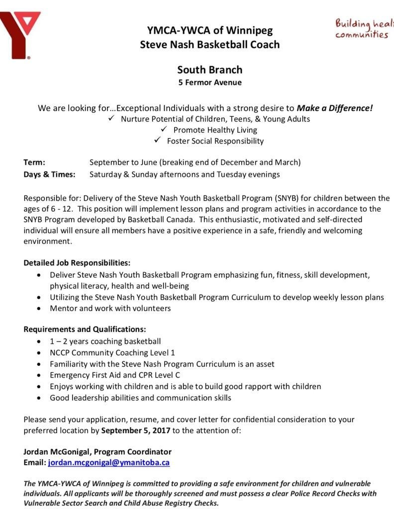 COACHING OPPORTUNITY South Winnipeg Y Steve Nash Coach