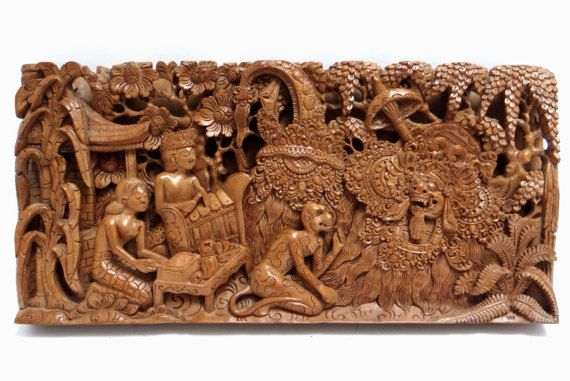 Vintage Balinese Carved Wooden Panel Ramayana Wall Panel Bali Hand Carved Wood Wall Decor Carved Wooden Panels Carved Wood Wall Decor Traditional Sculptures