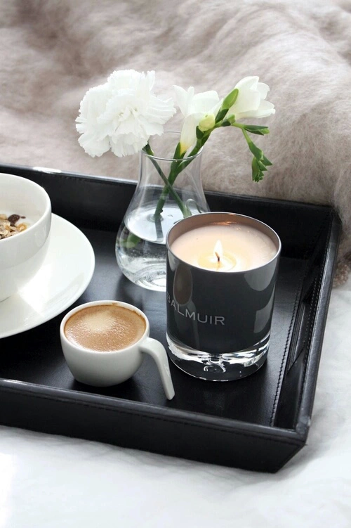 Autumn Bed Breakfast Candle Coffee Flowers Morning Saay