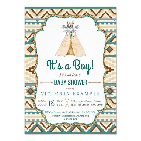 boys tribal teepee aztec baby shower card boys tribal baby shower invitations with teepee and