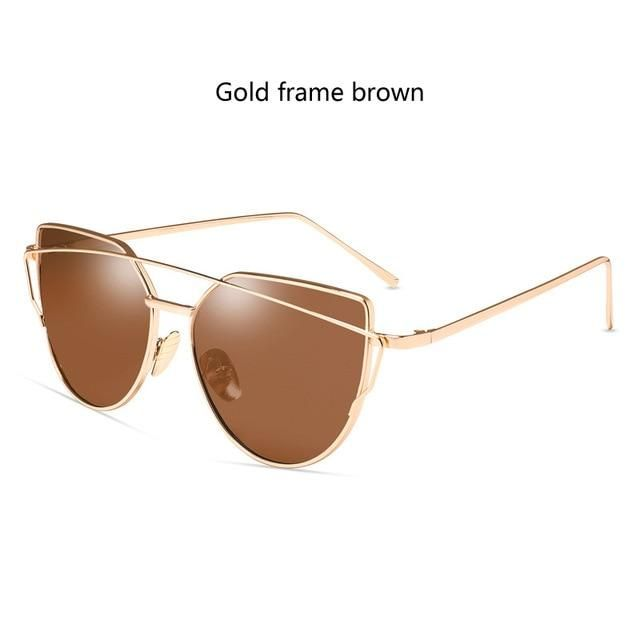 cf27323601cfa New Fashion Cat Eye Sunglasses Women Brand Designer Twin-Beam Mirror Lens  Sun Glasses Rose