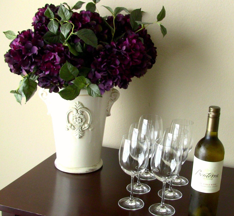 Silk flower arrangement plum hydrangeas in cream ceramic vase silk flower arrangement plum hydrangeas in cream ceramic vase gorgeous reviewsmspy