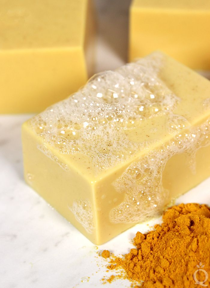 Learn how to make Turmeric Soap using a moisturizing goat milk soap base. It's scented with orange essential oil for a citrus-y smell.