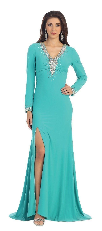MINT GREEN Beaded V Neck Long Sleeve Prom Dresses | Prom Dresses ...
