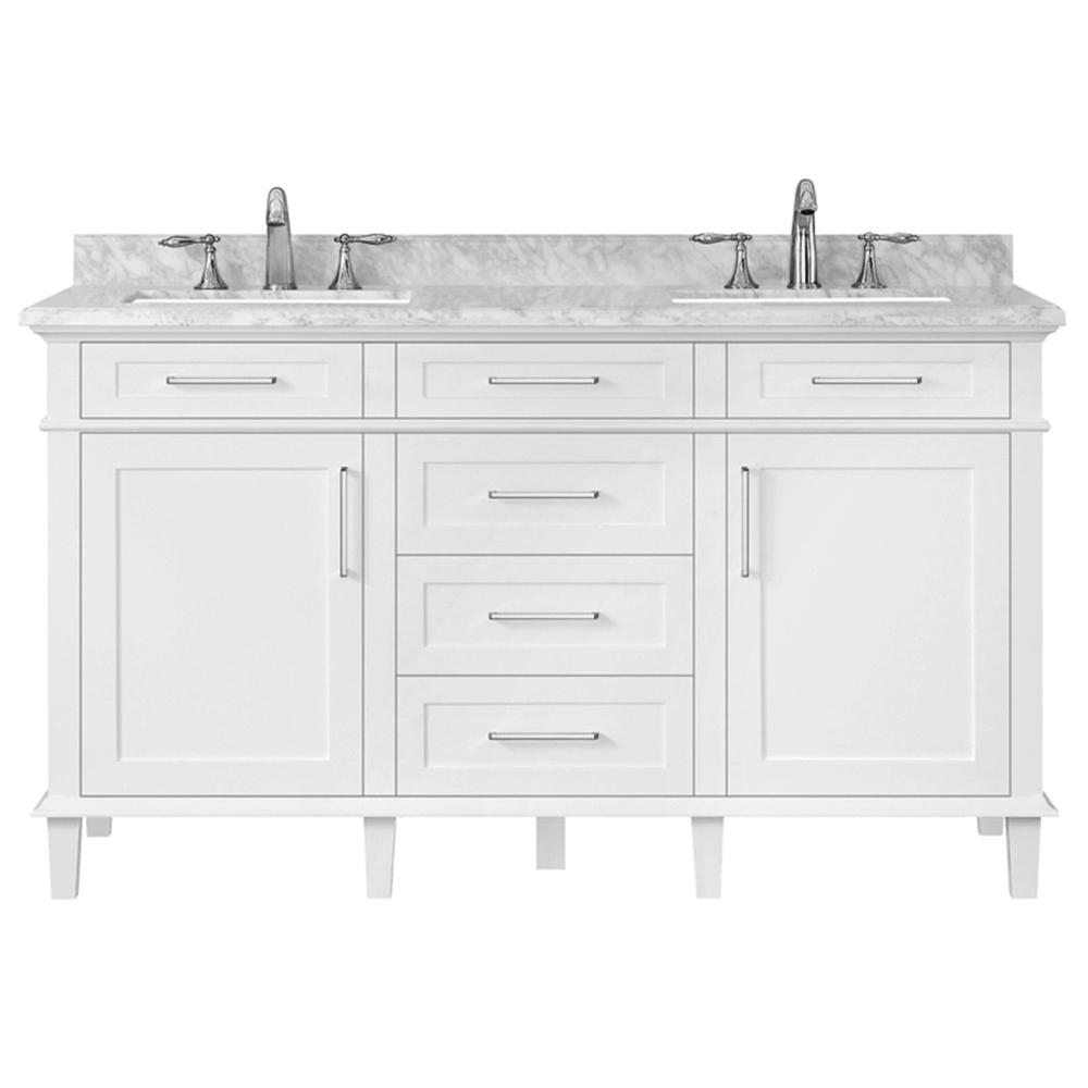 Home Decorators Collection Sonoma 60 In W X 22 In D Double Bath Vanity In White With Carrara Marble Top With White Sinks 8105300410 Bath Vanities White Sink Marble Vanity Tops