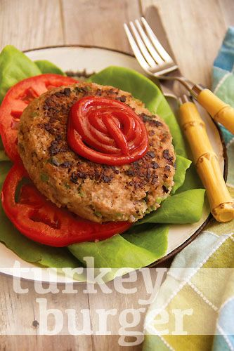This Turkey Burger comes from the new cookbook The Fresh 20, by Melissa Lanz. It's stuffed with bell pepper, herbs and cheese.