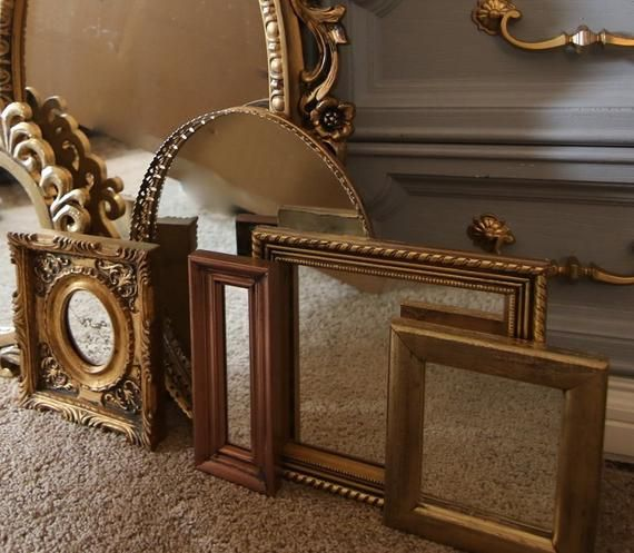 Set Of 12 Gold Mirrors Ready To Hang Wall Collage Mirror Gallery Gold Decor Wedding Decor Mirror Gallery Rustic Frames Gold Decor