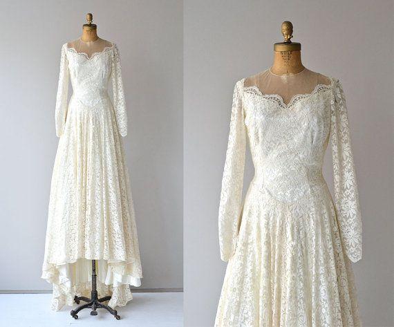 Lizanne wedding gown   vintage 1950s wedding dress • white lace 50s ...