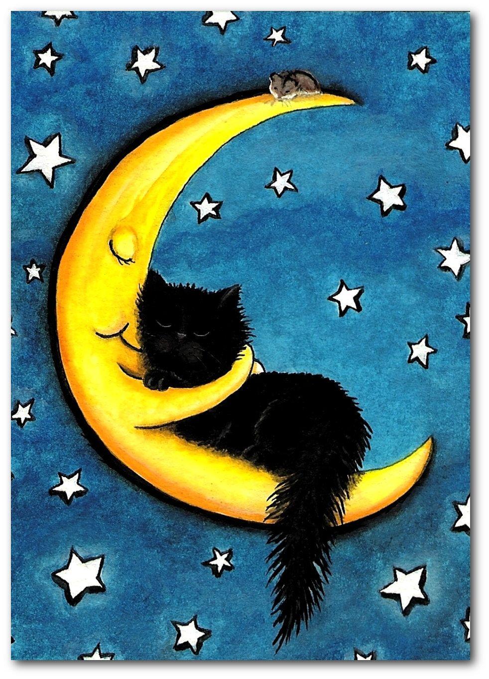 Sweetest of Dreams Moon Hugging Black Cat Fine Art
