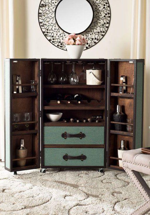 Steamer Trunk Bar Cabinet In Sage