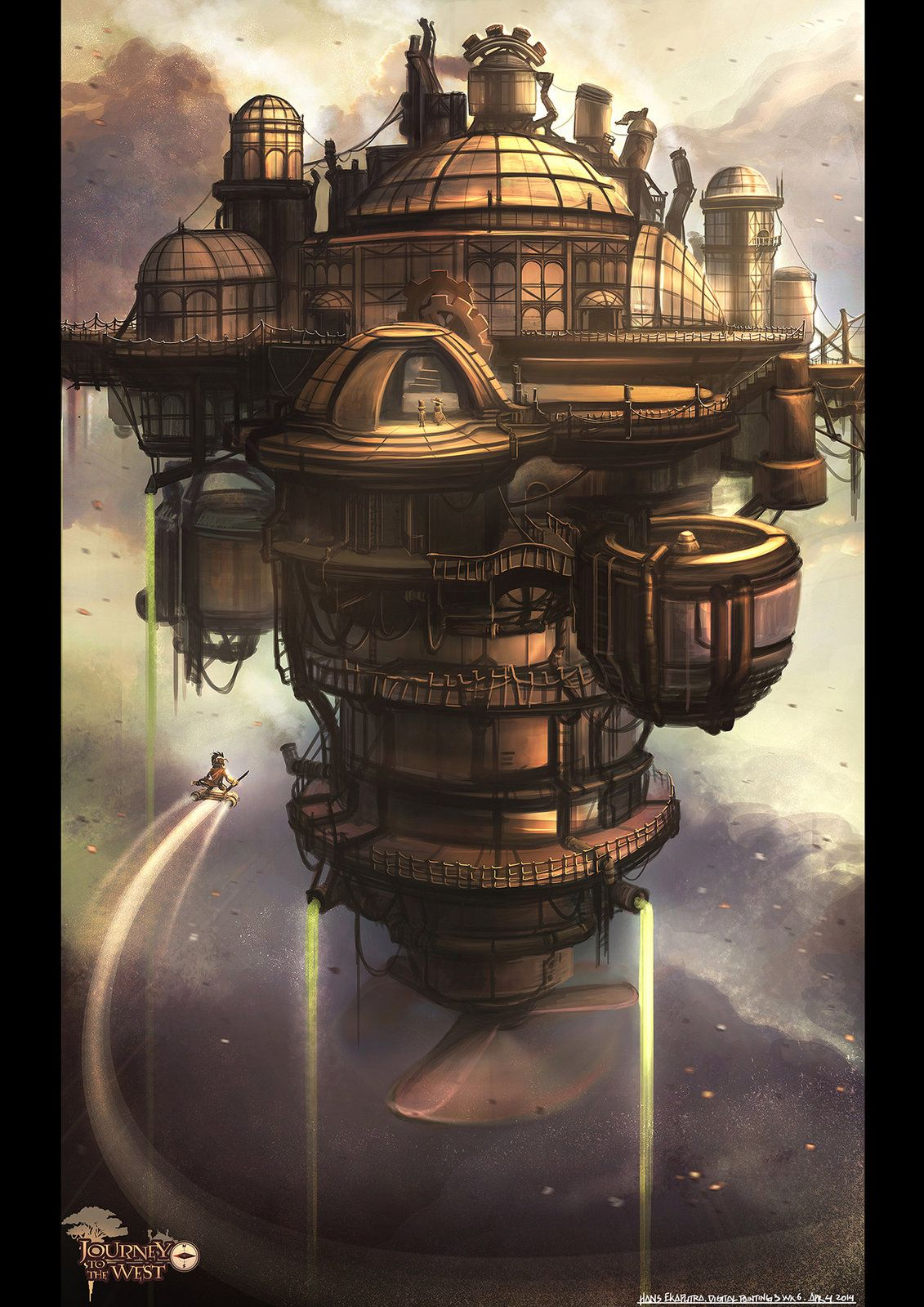 Journey to the West - Inventors Sky Fortress , Hans Ekaputra on ArtStation at https://www.artstation.com/artwork/journey-to-the-west-inventors-sky-fortress. #steampunk #victorian #gosstudio  . (Best Gifts online: http://www.zazzle.com/vintagestylestudio)