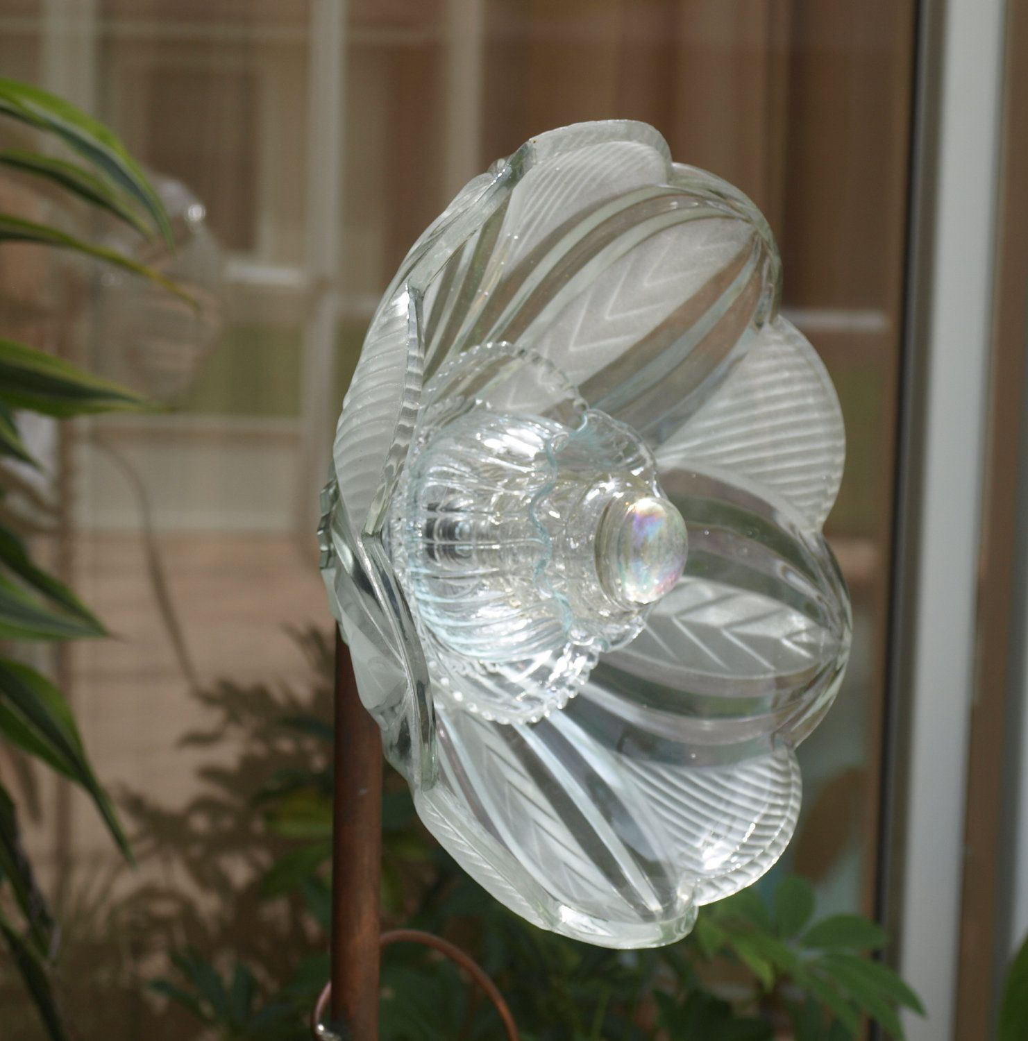 Clear glass plates for crafts - Vintage Repurpose Glass Plate Flower Light Shade Clear Glass Garden Art