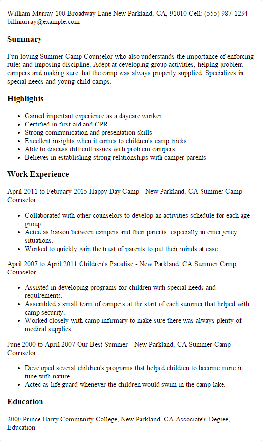 Is Your Resume As Powerful As It Should Be Use This Summer Camp Counselor Resume Template T Counselor Job Description Resume Objective Examples Camp Counselor