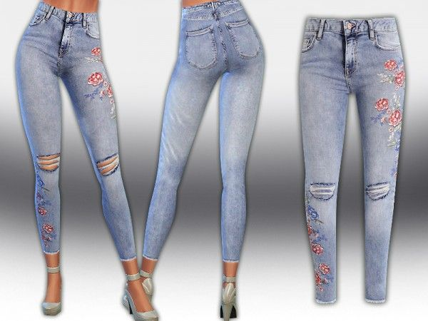 The Sims Resource: Petite Floral Strawberry Jeans by Saliwa