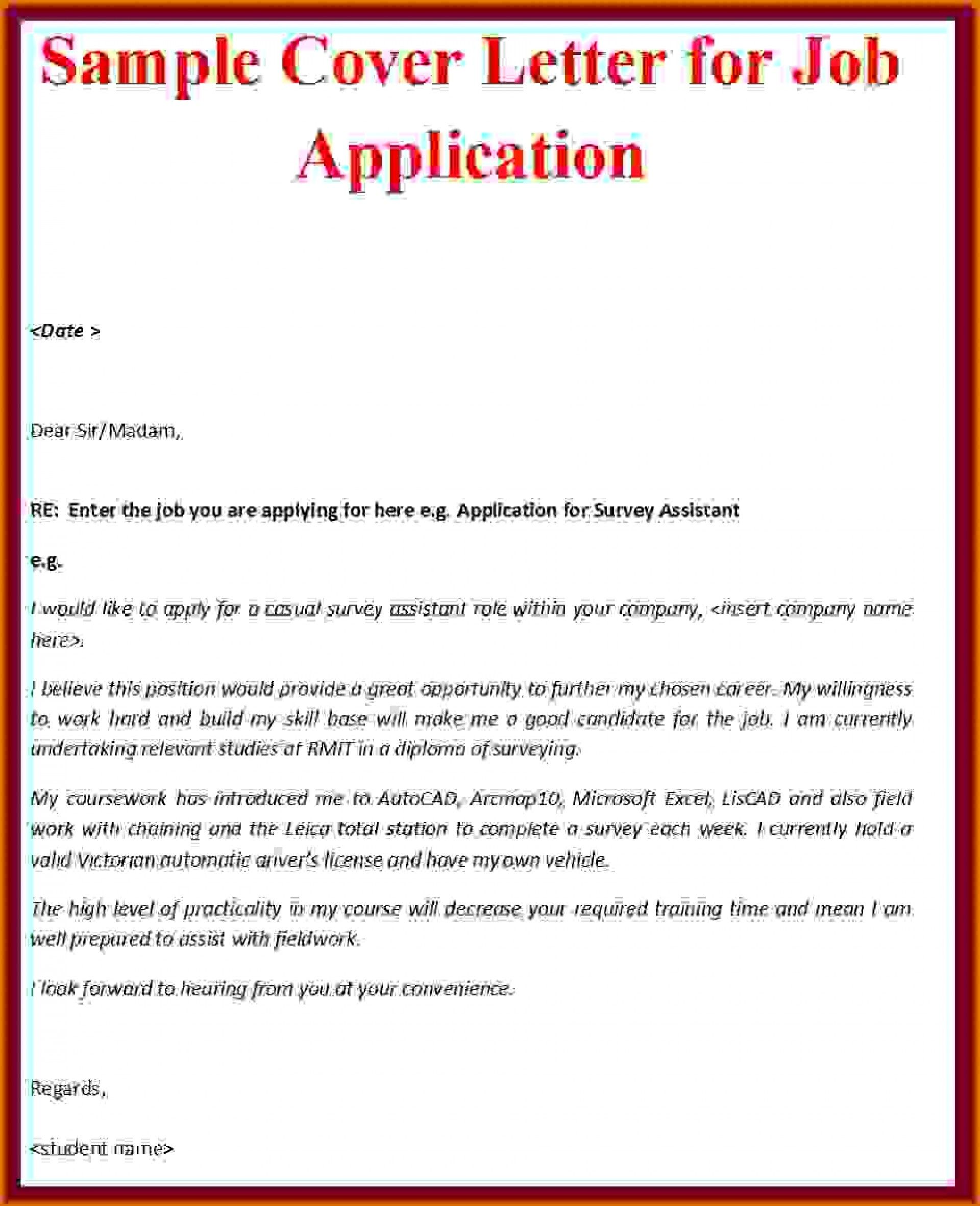 Cover Letter For Job Application Pdf Cover Letter Sample For Job Application