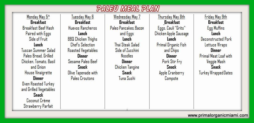 Paleo Miami Meal Plan Menu 5 5 Primal Organic Paleo Diet Crossfit Primalorganic Primal Diet Caveman Diet Plan Diet Meal Plans
