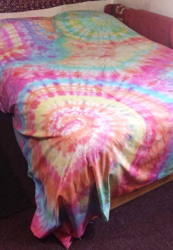Tie Dye Throw Wall Hanging Blanket Tapestry Rainbow by AbiDashery