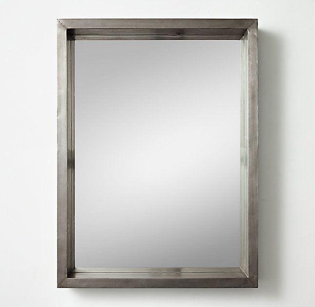 Industrial Shadow Box Dresser Mirror Pewter Dresser