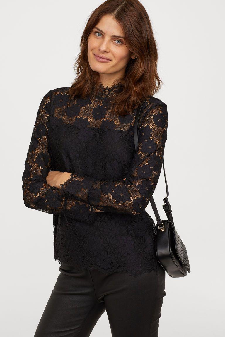 Long-sleeved Lace Top   ClothesClothesClothes   Pinterest   Black ... f7fa6d3cd7