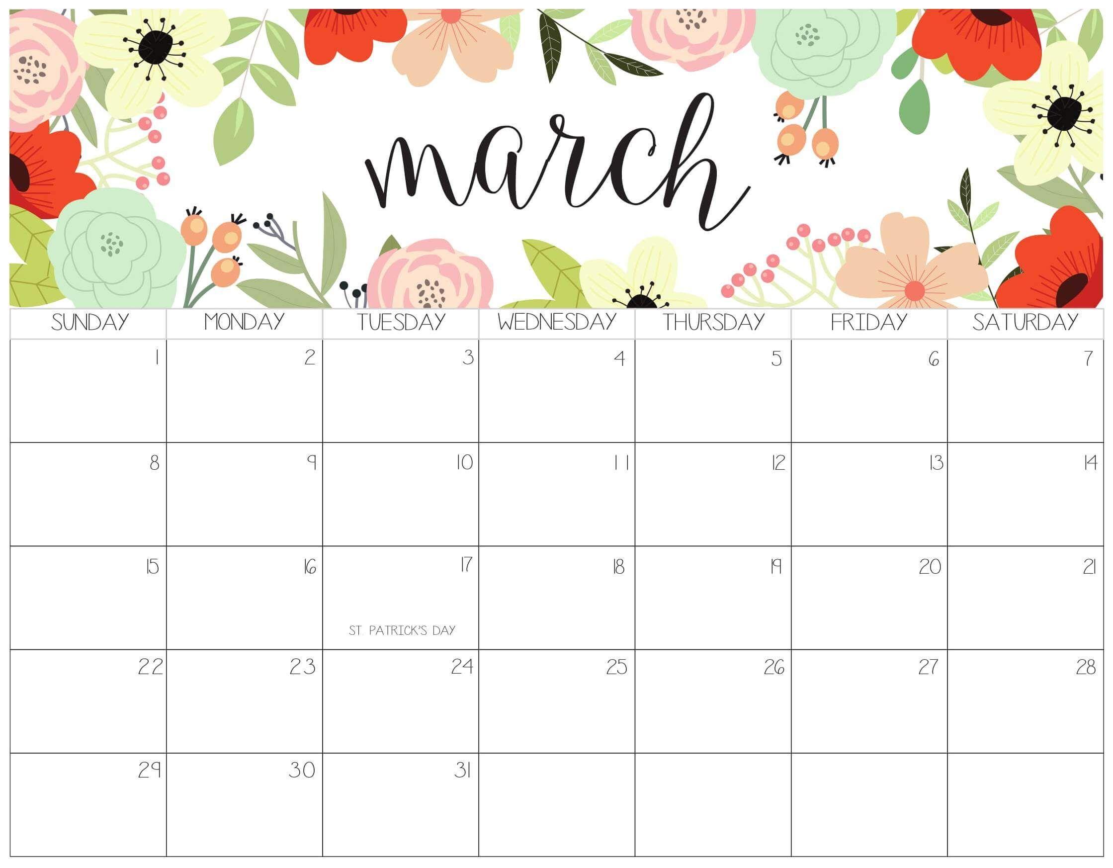 Cute Calendar For March 2020 In 2020 Print Calendar Calendar Printables Calendar Template
