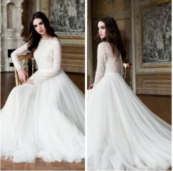 Modest High Neck Lace Long Sleeves Muslim Wedding Dresses White Du