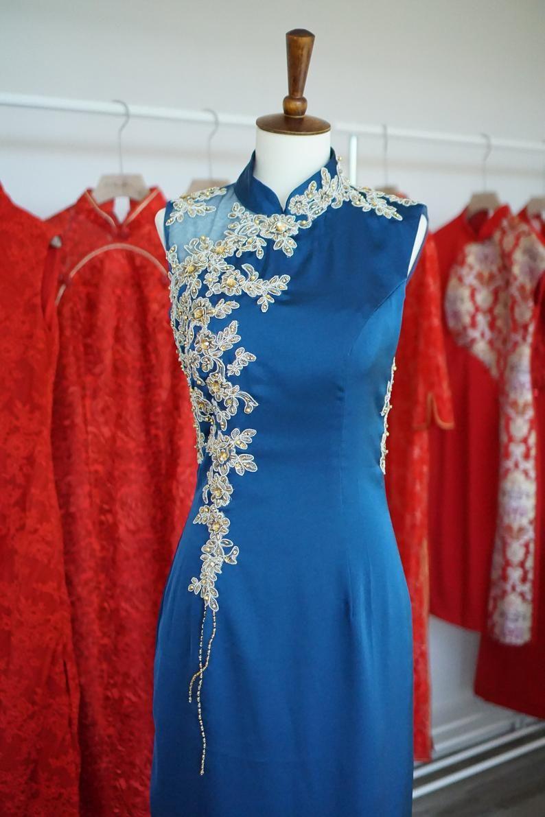 Chinese Wedding Dress Custom Blue Cheongsam Qipao Modern Etsy Dresses Chinese Wedding Dress Qipao Modern [ 1191 x 794 Pixel ]