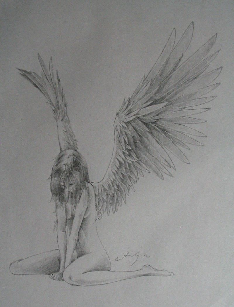 How to draw an angel in pencil in stages