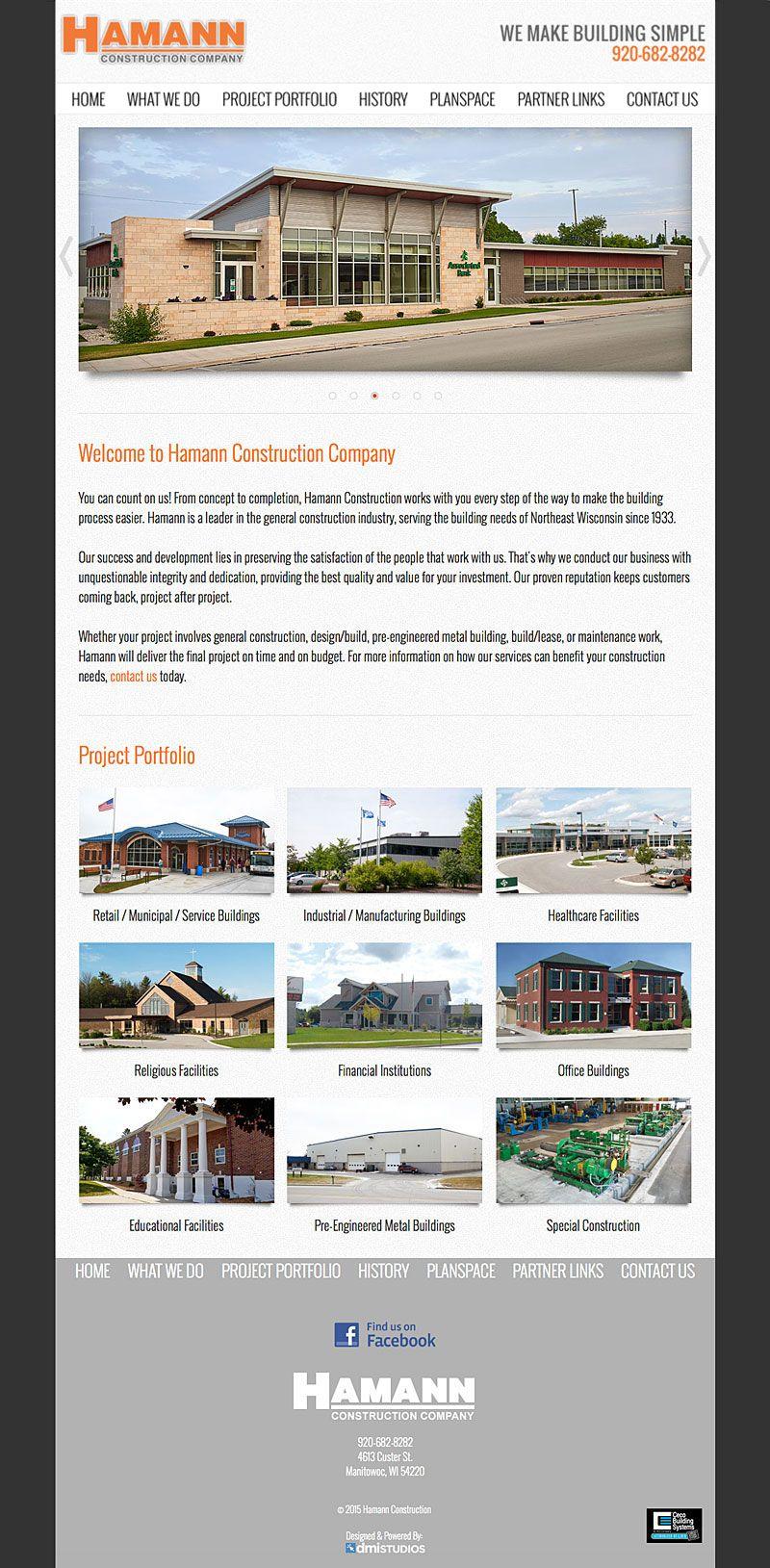 Hamann Construction Website Designed By Dmi Studios Construction Website Construction General Construction