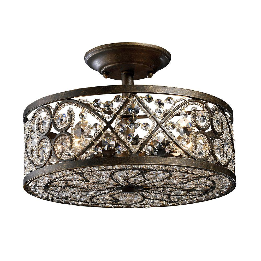 An Lighting Amherst 4 Light Antique Bronze Ceiling Semi Flush Mount Tn 6951 The Home Depot