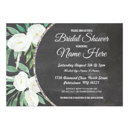 Watercolor Flower Glitter Bridal Shower Invite - invitations custom unique diy personalize occasions