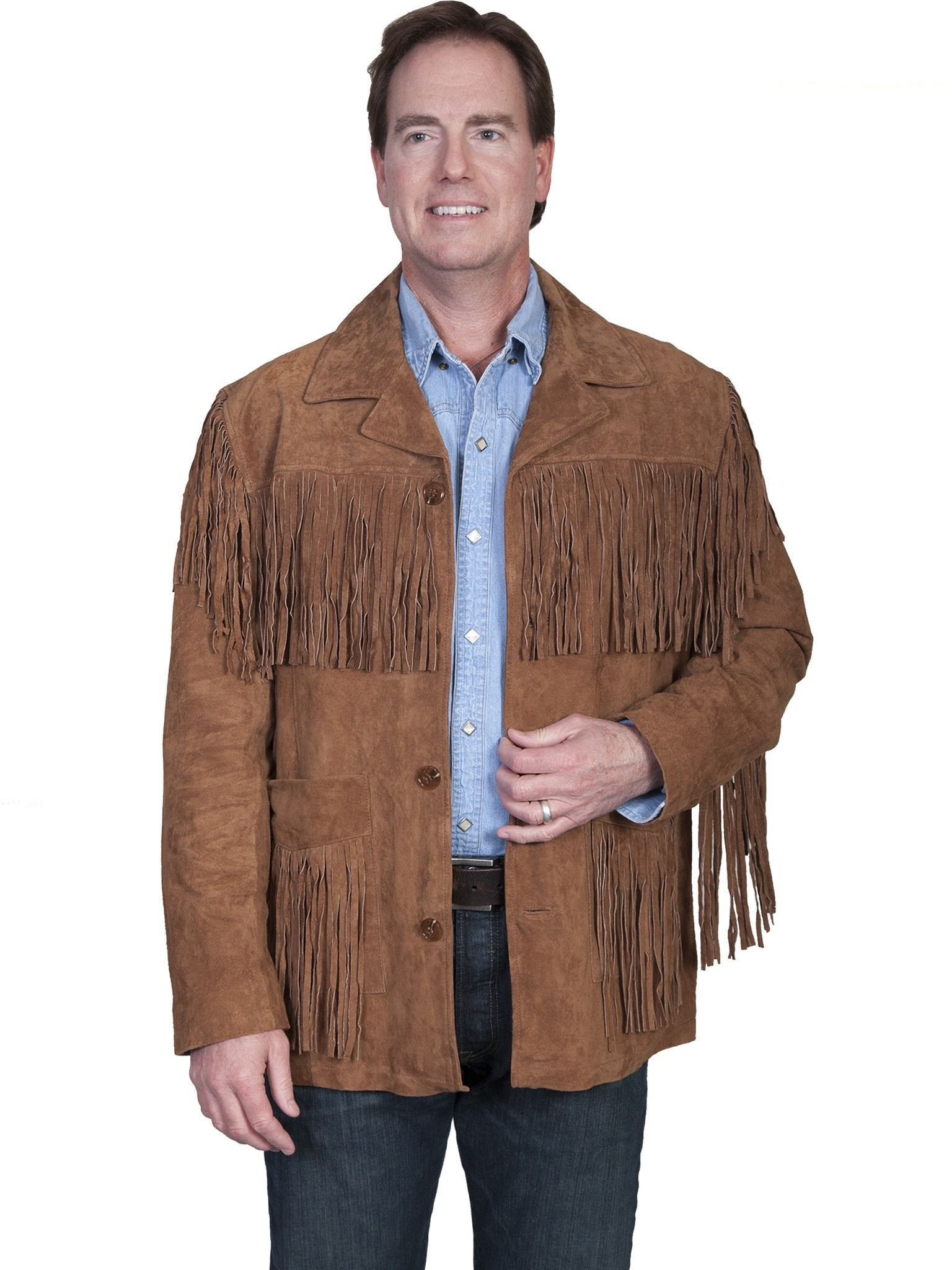 Scully Leather Mens Boar Suede Button Front Fringe Jacket Cinnamon