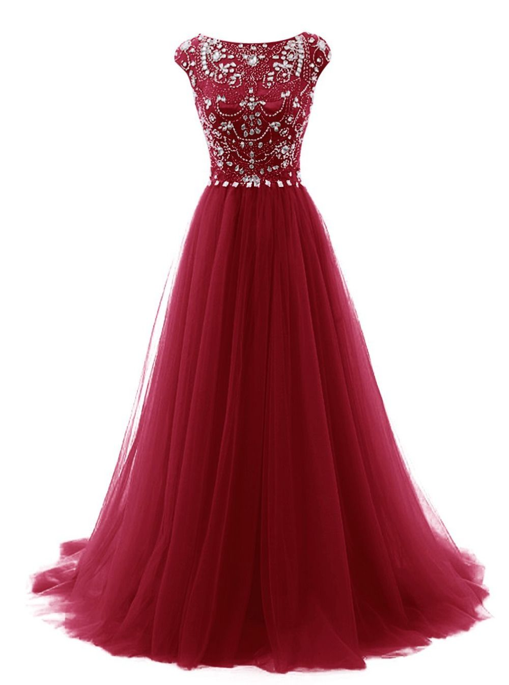 Sparkly crystal beadings long prom dresses boat neck cap sleeves