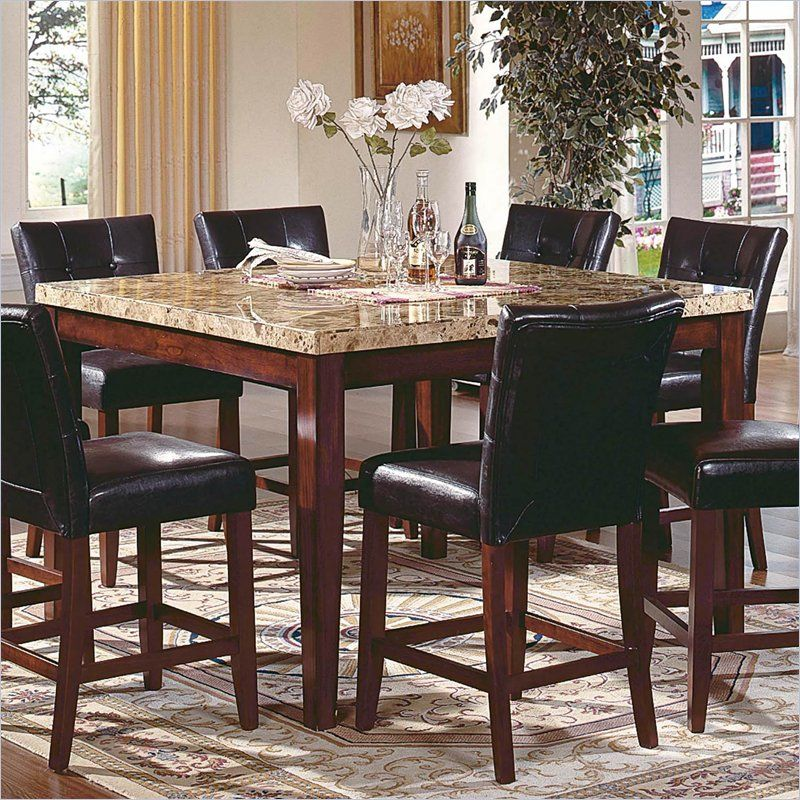 Steve Silver Montibello Marble Top Counter Height Square Dining Table Set