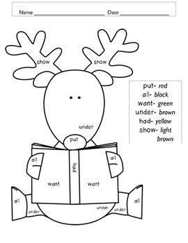 Christmas Color by Word FREEBIE Spelling for kids