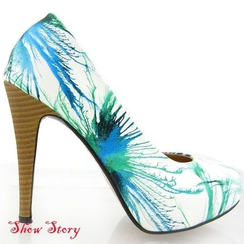 New White & Blue Feather Print Wooden Look Heels AU Sz 7