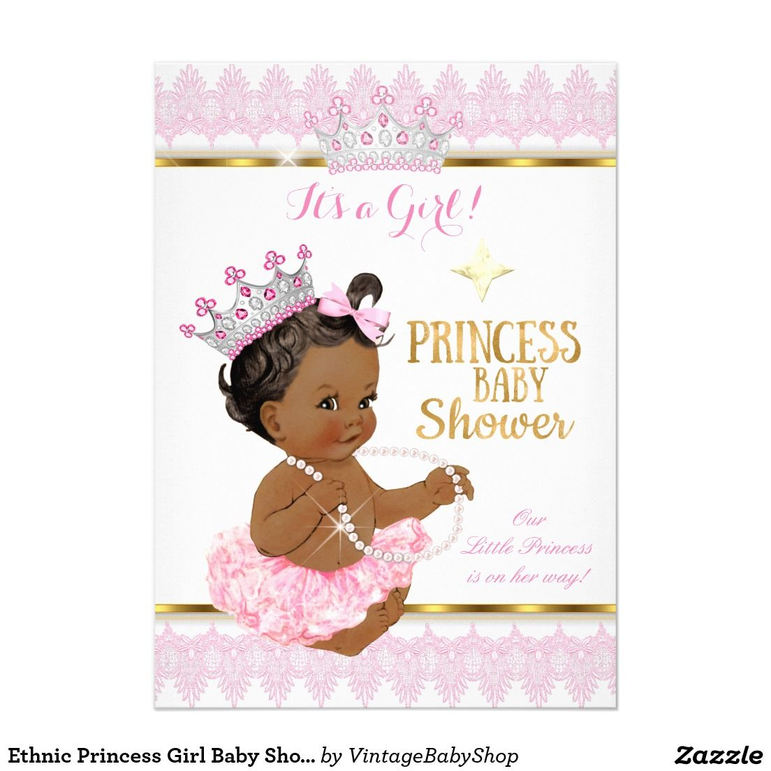 3c804eb06 Ethnic Princess Girl Baby Shower Pink Gold Tutu 5x7 Paper Invitation Card