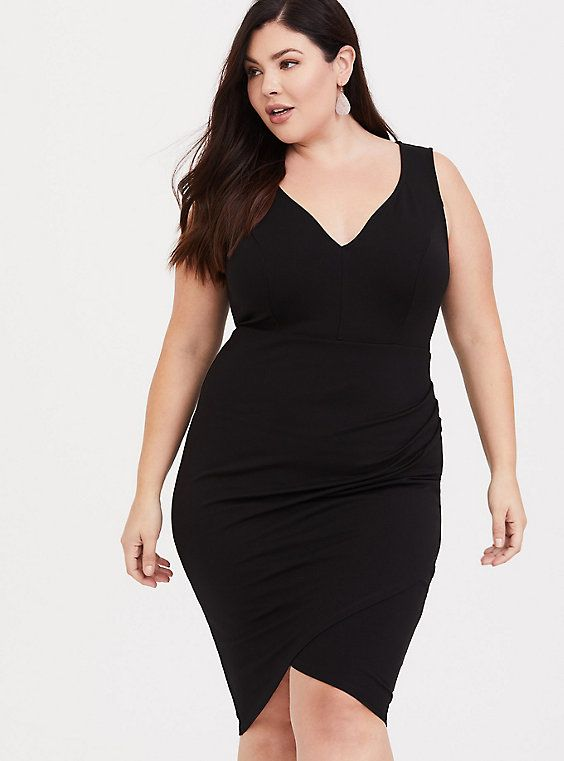Black Ponte Bodycon Dress   Products in 2019   Plus size ...