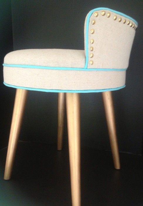 Reupholstered Vanity Stool Using A Dropcloth Back Via The