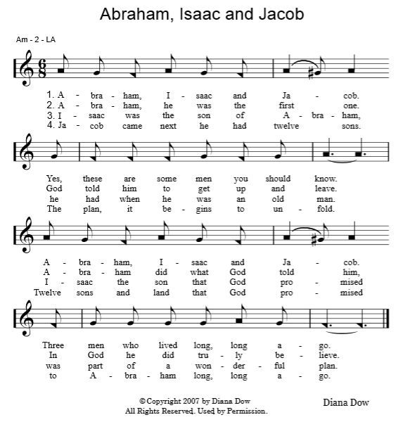 Abraham, Isaac and Jacob by Diana Dow  A song for young