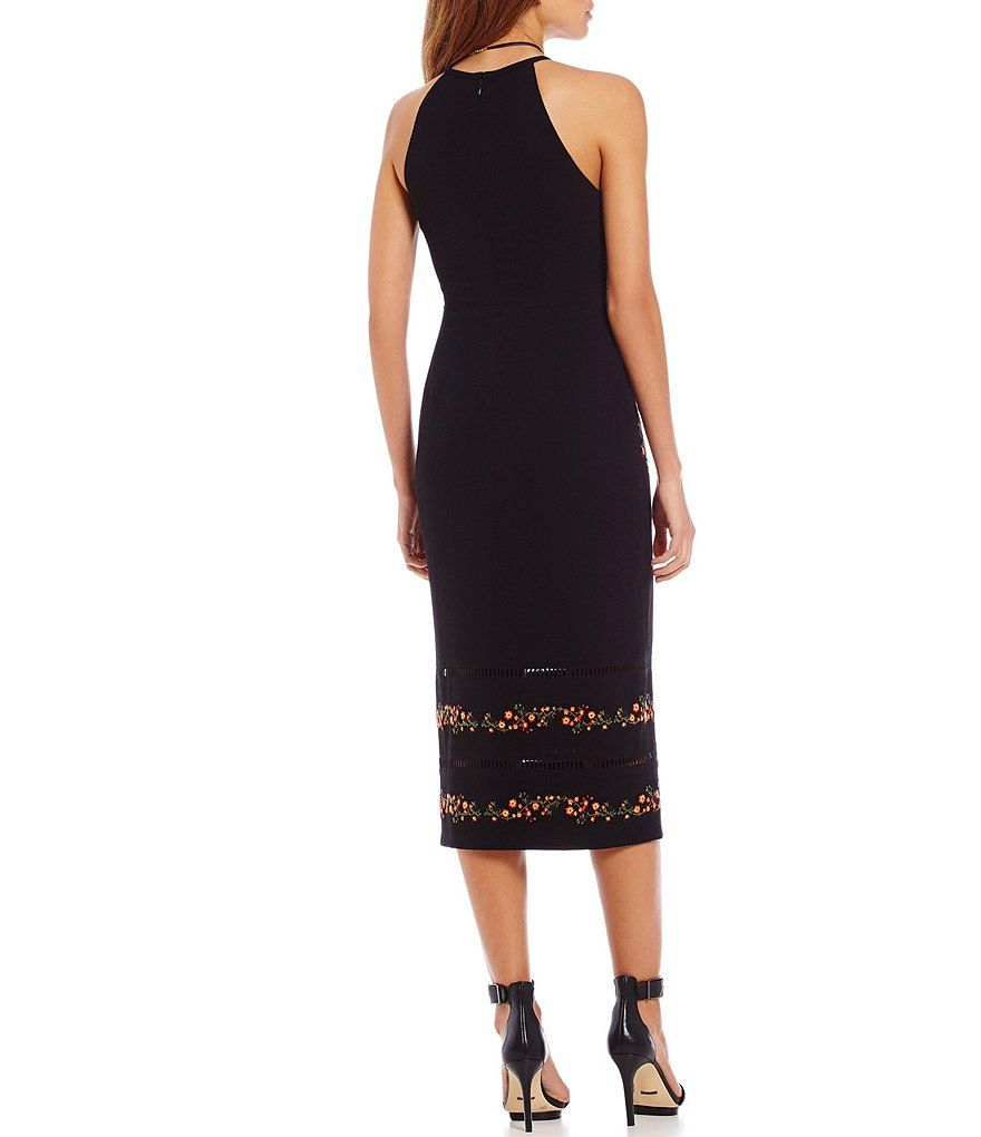 Gianni Bini Monroe Floral Embroidered Halter Midi Dress   Black ...