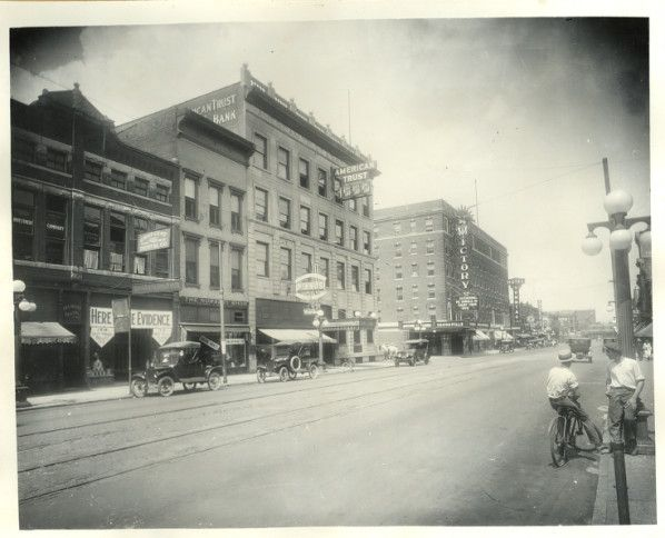 A photograph of The American Trust and Savings Bank, which was located on the west corner at Sixth and Main streets in downtown Evansville.