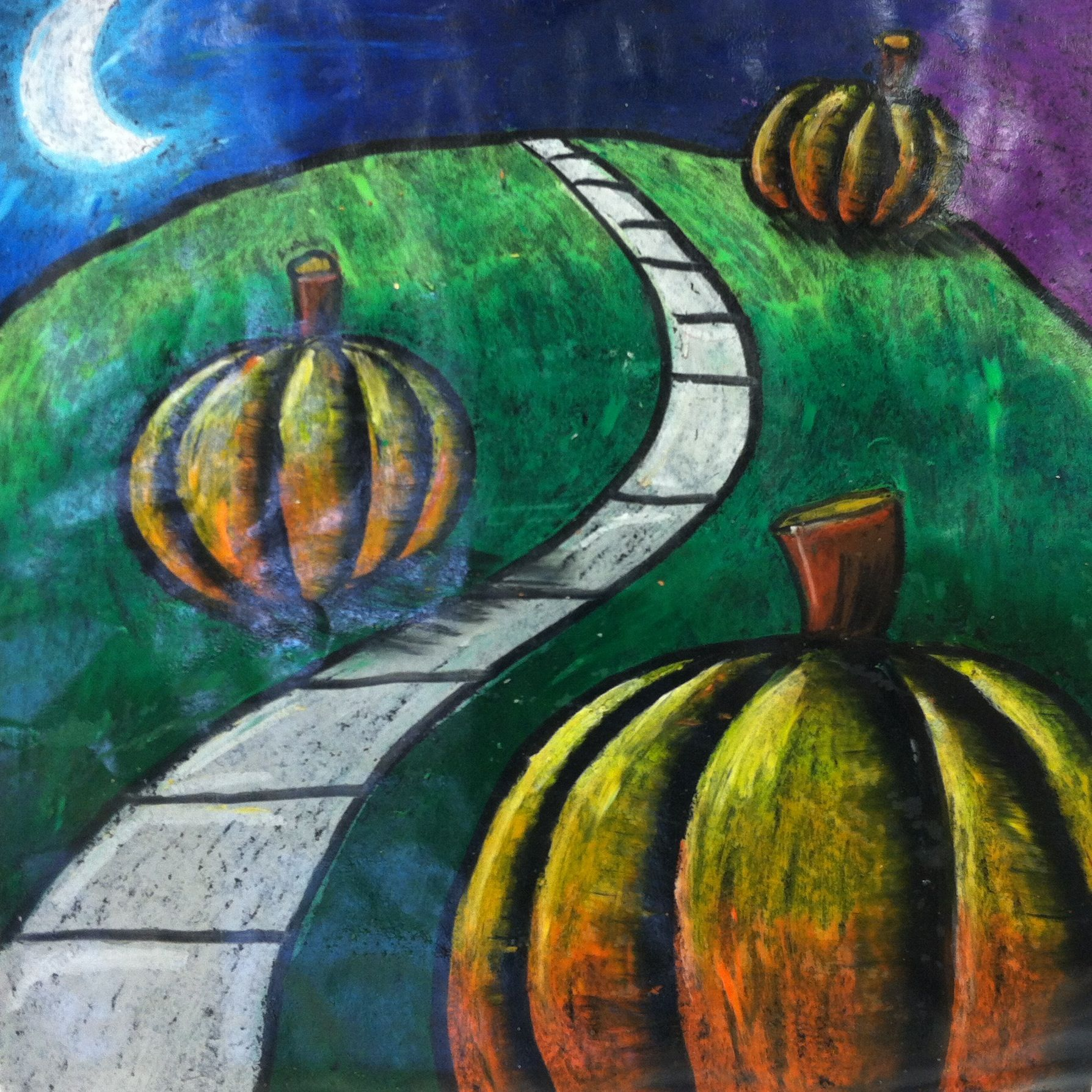 3rd Grade Spooky Pumpkins in oil pastel, learning about depth and sealed with tempera gloss varnish.  Wayne, NJ